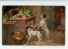 New listing 3086819 Jack Russell Terrier & Cat on Table By Samson vintage