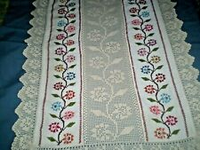 Beautiful Hand- embroidered handmade Filet lace Table Runner