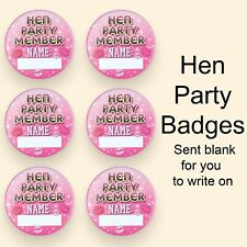 Hen Party Badges ideal for Hen Parties/Hen accessories/ write your own name 6,12