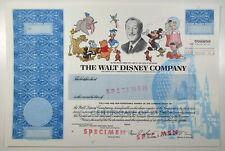Walt Disney Co., 1990s Odd Shares Specimen Stock Certificate, VF JBN