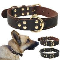 Genuine Leather Large Dog Collars Heavy Duty Dog Collar Adjustable S-L Labrador