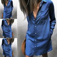 Loose Casual Women Blue Jeans Denim T-Shirt Long Sleeve Casual Shirt Mini Dress