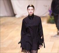Women H&M Studio SS 2017 Long Blouse Cotton Shirt Split Sleeves Ties Tunic Black