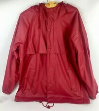 Misty Harbor Womens Rain Coat Jacket with Hoody and Shade Red Size M