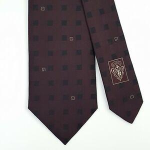GUCCI TIE G on Dark Red Check Skinny Woven Silk Necktie