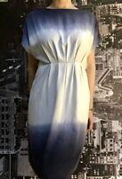 Gorman Tencel Dress, Size 8, Indigo Blue & White, Tie Dye