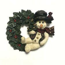 Vtg Snowman Christmas Brooch Pin Wreath & Bird Heart Buttons