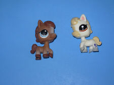 lot of 2 My Littlest Pet Shop ponies white #1709 Festive Friends rtd, brown #337