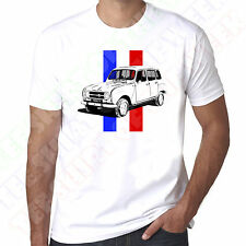 Renault 4 French Flag Tricolore Mens White Tshirt - Personalised plate available