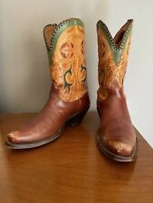 Vintage 1940s Nocona Cowboy Boots, tooled leather with red and green inlay