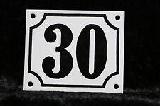 Haus Nummer 30 Schild mit Rand, Emaillehausnummer, Emailleschild, unikat