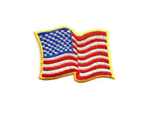Flag - American Waving Flag - Yellow Gold Edge - Embroidered Iron On Patch