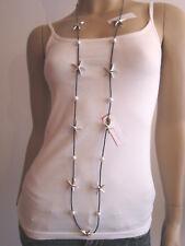 Modekette Damen Hals Kette Lagenlook Leder sehr lang XL Perlen See Sterne EDEL