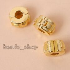 5pcs Gold Pld Alloy Stopper Beads European Fit Jewelry Charms Chain Bracelet  FW