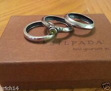 SILPADA 3 STACKABLE STERLING SILVER RINGS PERIDOT ACCENT R2119 RETIRED SZ 7