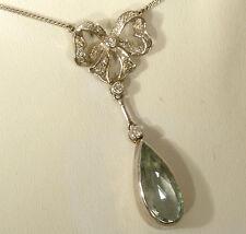 Art Deco style 9ct White Gold Pear Cut Aquamarine & Diamond pendant Necklace