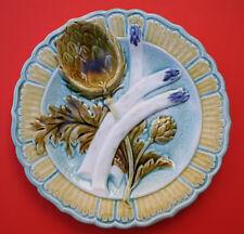 Antique French majolica plate, asparagus & artichoke, Salins les Bains,19th cent