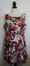 HEARTS & ROSES ~ Rockabilly 50s Ivory Pink Mauve Burgundy Floral Cotton Dress 24