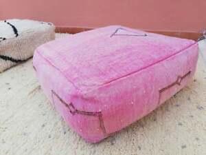 Moroccan cactus silk POUF, Handmade Berber sabra Pouf, Pink floor cushion