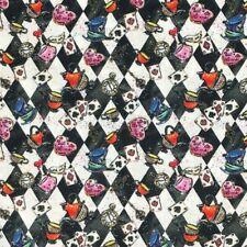 100% Cotton Fabric Alice In Wonderland Harlequin Card Tea Time 140cm Wide Crafty