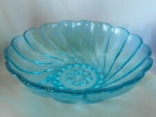 Collectible Vintage Turquoise Pressed Glass Swirled Vegetable Serving Bowl