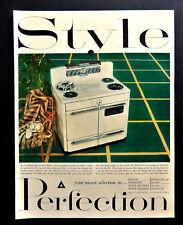 Vtg 1952 Perfection retro kitchen appliance range advertisement print ad art