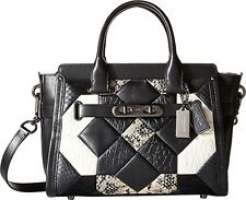 Women's Canyon Quilt Exotic Coach Swagger 27 DK/Black/Chalk Satchel