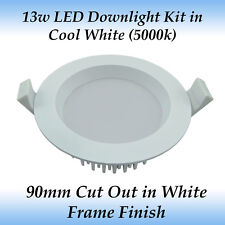 13w Dimmable LED Downlight Kit in Cool White Light with White Frame