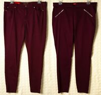 JENNIFER LOPEZ Maroon Skinny Jeggings Leggings STRETCH JLO Jeans RED Pants NWT