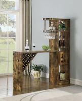 Coaster 5-Shelf Bar Unit Table Stemware Rack Storage Antique Nutmeg 182127