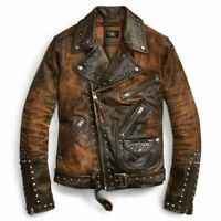 Mens Leather Jacket brown Black Punk Full Silver Spiked Studded Zippered Jacket