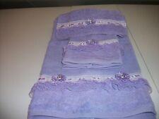 3Pc Allover Lavender Bath Towel Sets