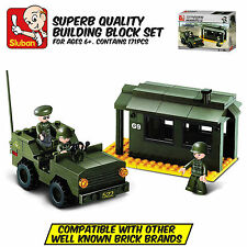 SLUBAN ARMY GUARDHOUSE AND JEEP - Leading Brand Compatible Brick Building Toy