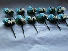 10 aqua blue rose/ivory  wedding buttonhole ivory/cream rustic berry