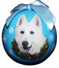 "GERMAN SHEPHERD-White--Shatterproof Ball Ornament--3""-- by E & S Pets"