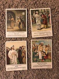 (4) 1906 1912 & 1914 Heidelberg Bible Study Card Lot -- w/ JESUS CHRIST