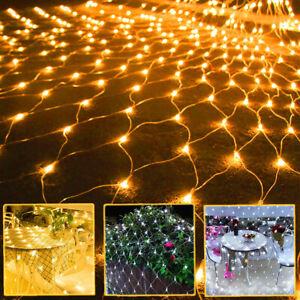 US LED String Light Net Mesh Curtain Xmas Wedding Party Outdoor Christmas Lights