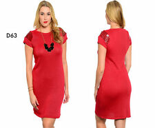 D63 Womens Size 14/16 Red Short Sleeves Bodycon Stretch Office Party Dress Plus