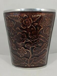 Unique Silver Metal Vase Brown Cloisonne-Like Floral Pattern -Made in India