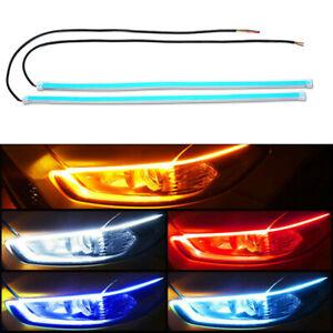 30/45/60CM LED DRL Car Daytime Running Light Strip For Headlight Accessories