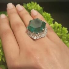 60CT Large Green Hexagon Shape Stone 10K White Gold Party Wedding Cocktail Ring