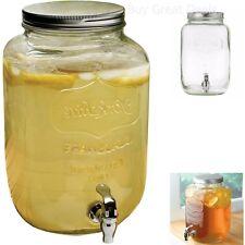 Glass Jar Dispenser Drink Mason Jars Beverage Cocktails Ice Tea Lemonade Pod NEW