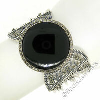 "Sterling Silver Marcasite Large Round Black Onyx Multi Strand 1.5"" Wide Bracelet"