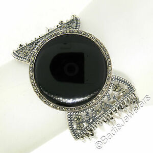 "Sterling Silver Marcasite Large Round Black Onyx Multi Strand 1.5"" Wide Bracelet"