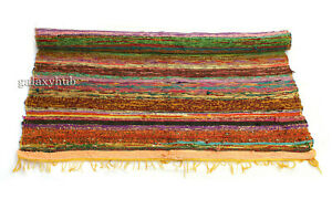 New 4X6 Feet Floor Rug Yellow  Multi Chindi Carpet 3X5 Ft Cotton Chindi Area Rug