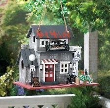 Birdville Wooden Biker Clubhouse Themed Detailed Garden Birdhouse New