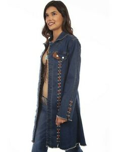 Scully Western Jacket Womens Long Open Front Lacing Denim F0_HC640