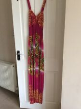 BNWT Ladies Size M Pink With Paisley Pattern Halterneck Full Length Maxi Dress