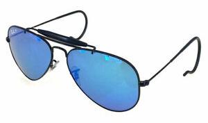 Ray ban 3030 58 Outdoorsman Black Remix Blue Mirror Polarized Lenses Sole