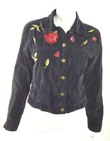 A.M.I. Womens Size Small Or Large Black Velvet w/ Flowers Button Up Jacket EUC